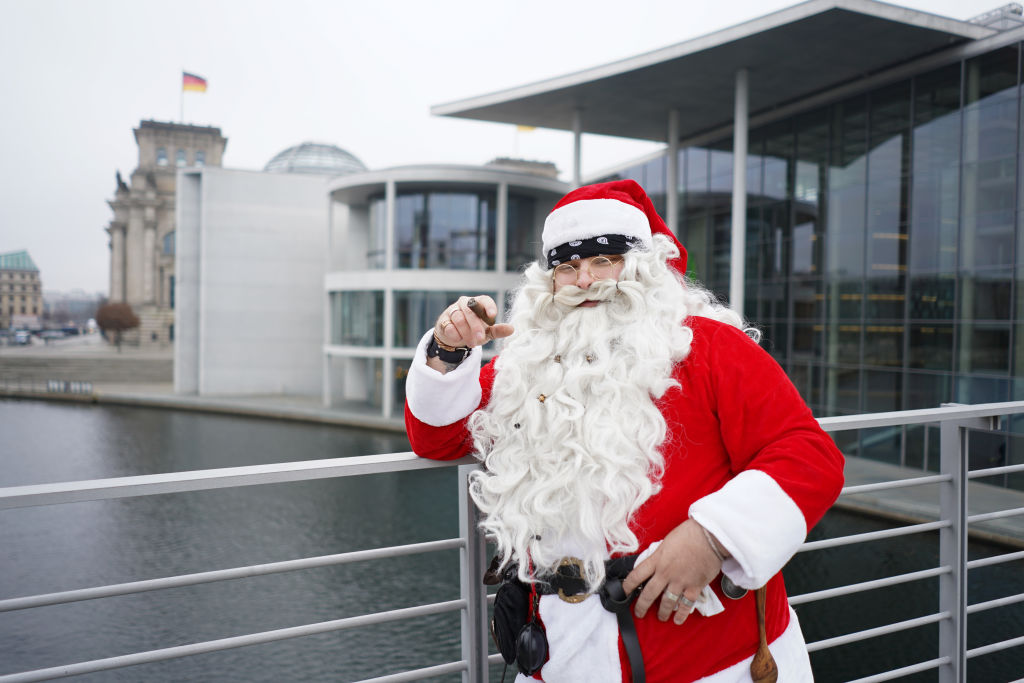 Santa Claus takes a smoking break
