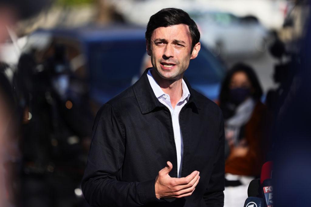 Georgia Senate Candidate Jon Ossoff Visits Polling Location On Day Of Runoff Election
