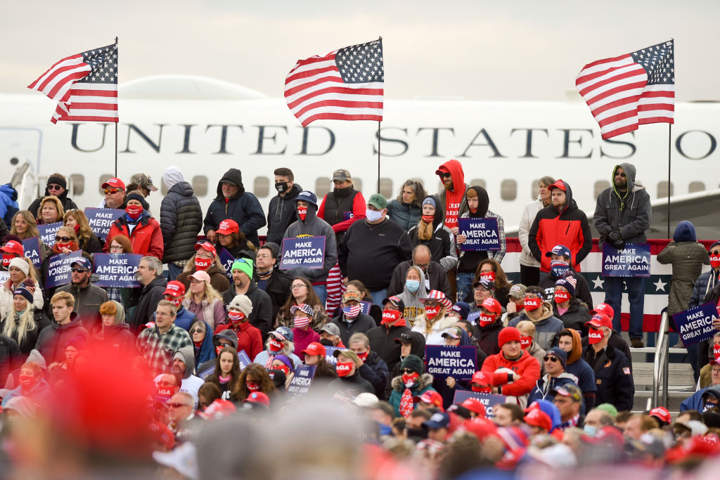President Donald Trump Holds Campaign Rally At Reading Pennsylvania Airport