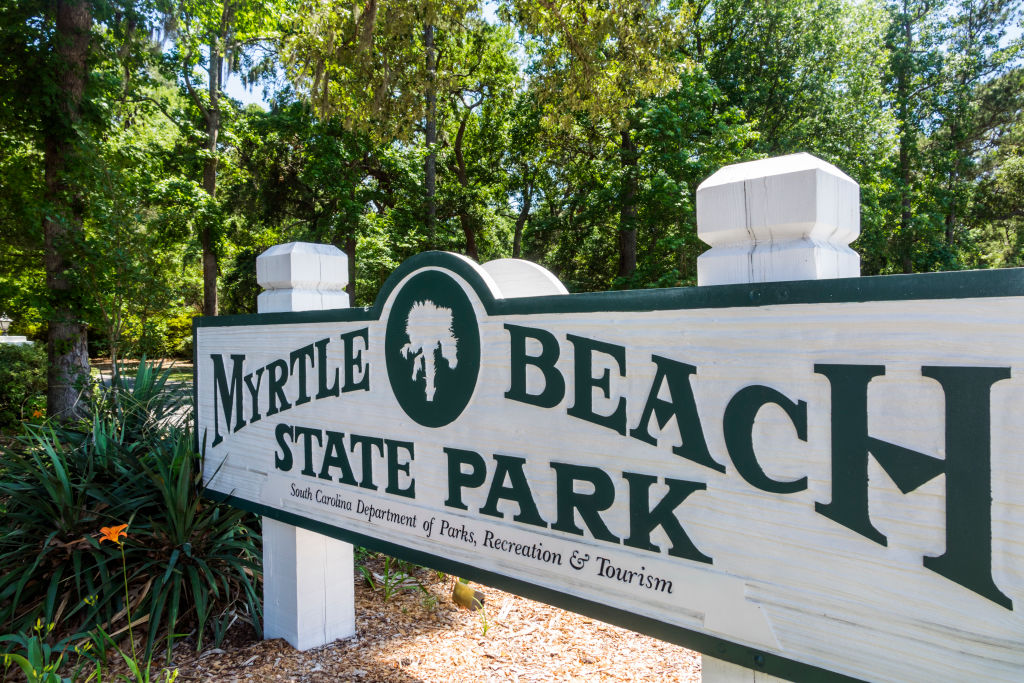 South Carolina, Myrtle Beach, Myrtle Beach State Park, entrance sign