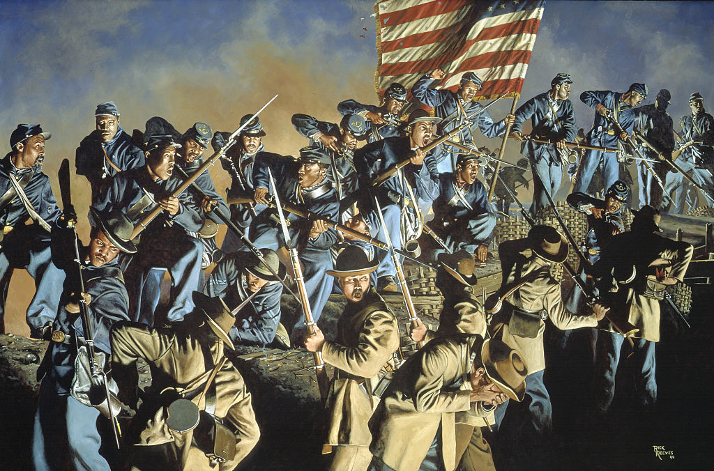 Confederate troops fighting African American Union soldiers at Fort Wagner