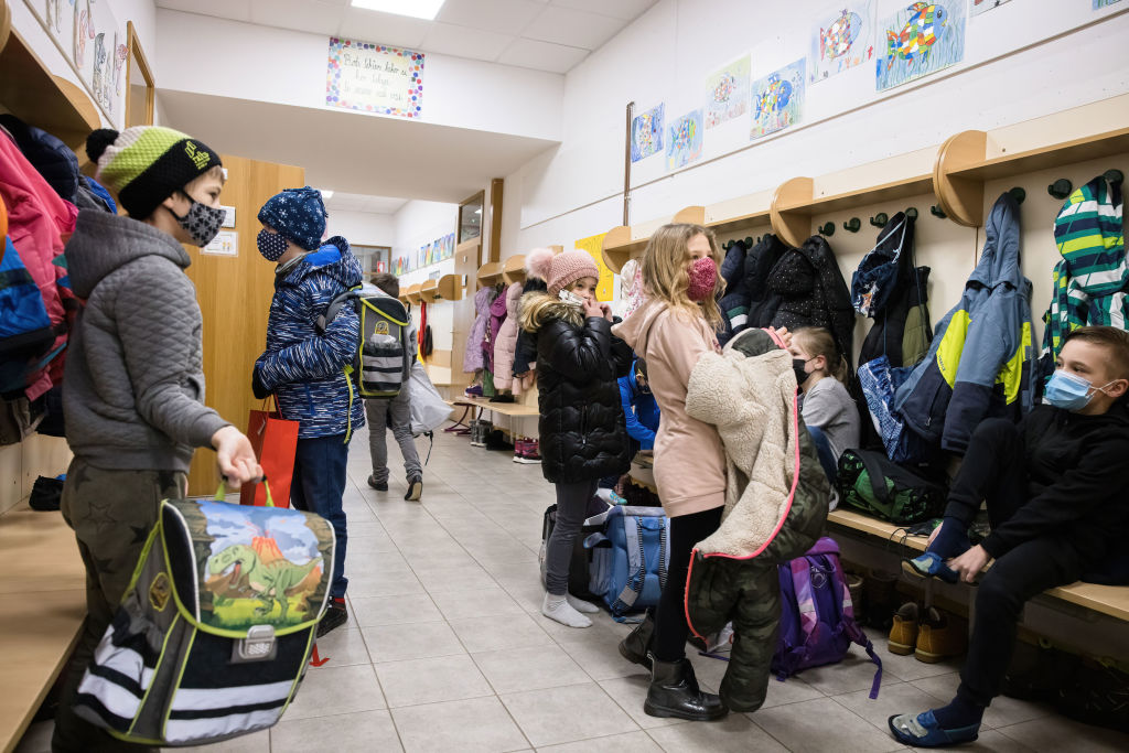 Pupils of 2nd and 3rd grades of Orehek primary school arrive...
