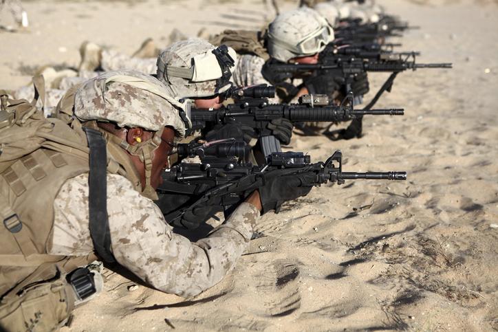 U.S. Marines train in combat marksmanship during Enhanced Mojave Viper.