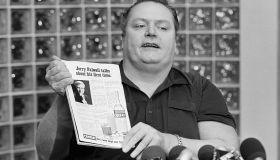 Hustler Magazine Publisher Larry Flynt Speaking to Reporters