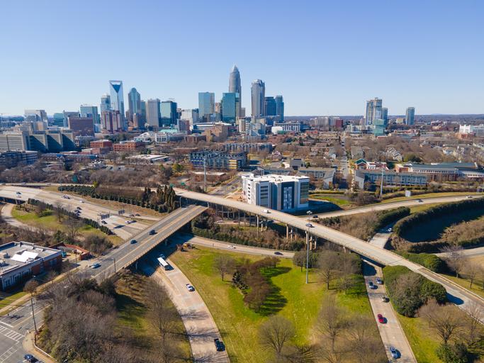 Aerial of Charlotte, North Carolina Skyline