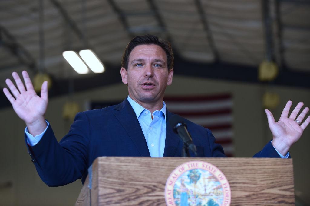 Florida Governor, Ron DeSantis speaks at a press conference...