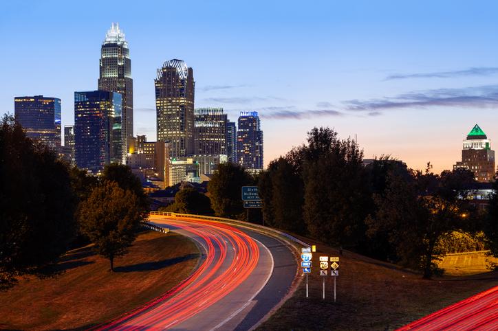 Light Trails, Highway, Charlotte, North Carolina, America