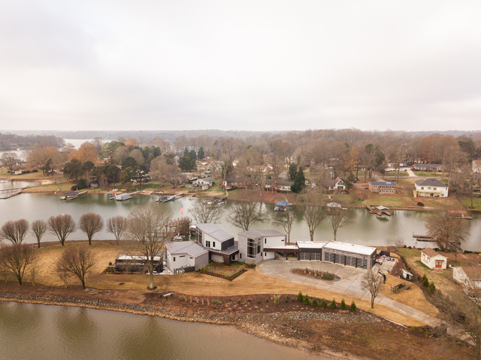 Aerial Views of the Lakeside Town of Mooresville, North Carolina, Just North of Charlotte, NC