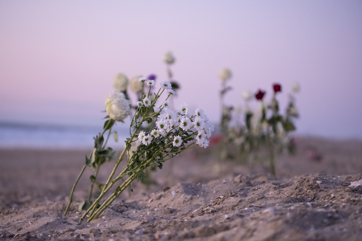 Funeral Flower, Roses And Daisy Flowers At The Beach, Water, Burial At Sea. Funeral, Condolence Card