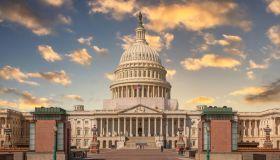 East Façade of the US Capitol Building at Sunset, Washington DC, USA.