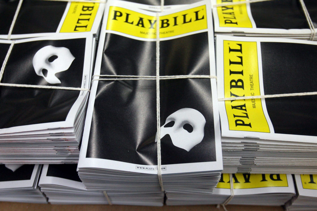 A stack of Playbill magazines ready for delivery