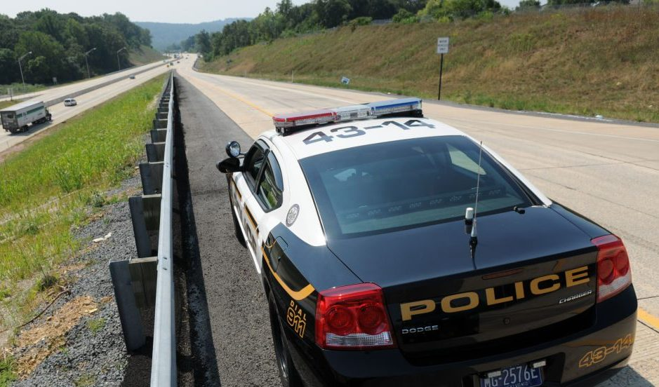 """9/2/10 photo Ryan McFadden Township of Spring Police Officers conduct a """"speed trap"""" (that is not the term they use) on 222 southbound on the on ramp from the Gouglersville exit;"""