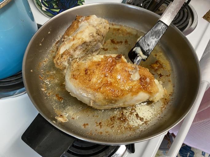Homemade Skillet fried chicken breast