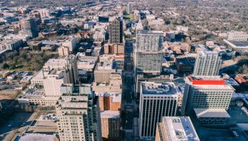 Aerial cityscape of Raleigh, North Carolina